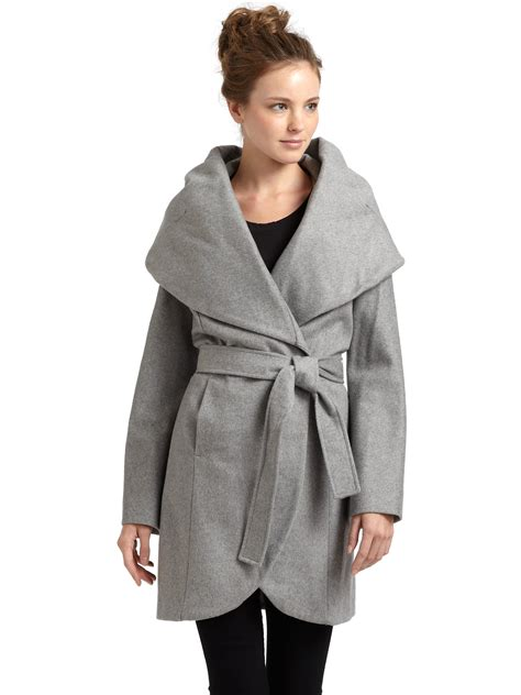 tahari marla wool blend wrap coat in gray lyst