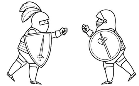 imagenes niños peleando para colorear combate de caballeros dibujo para colorear e imprimir