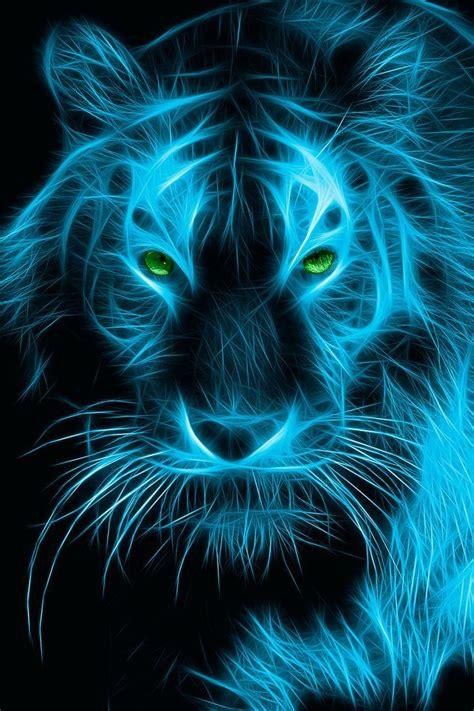 Kaos 3d Tiger Neon fractal animal via johnson fractal animal animals tigers and