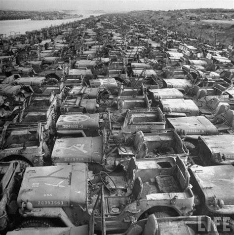 japanese military jeep jeep graveyard on the island of okinawa japan in 1949