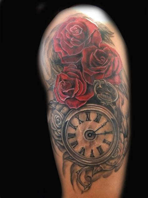 clock tattoo with roses clock and roses i want the roses up higher