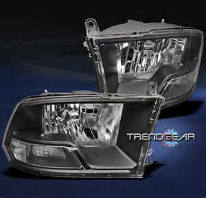 2009 2012 dodge ram headlight l black