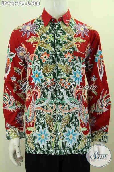 Batik Pria Hem Batik Kemeja Batik Sarang Merah hem batik pria motif mewah warna merah kemeja batik