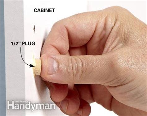 kitchen cabinet hole plugs kitchen cabinets 9 easy repairs the family handyman
