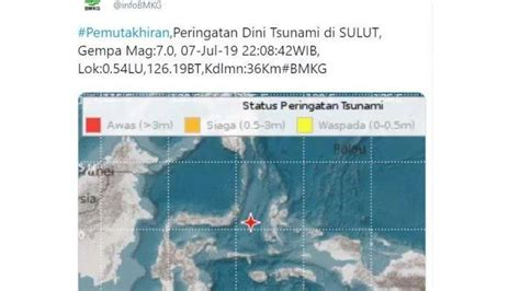 gempa bumi manado magnitudo  peringatan dini tsunami  sulut malut tribunstylecom