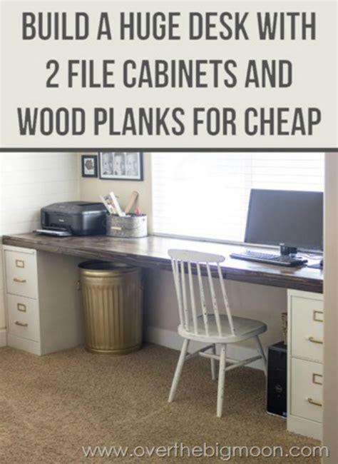 diy file cabinet desk 20 office crafts and hacks the crafty stalker