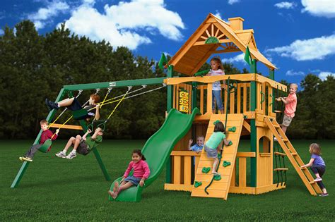timber swing sets chateau ii clubhouse wooden playset by gorilla playset