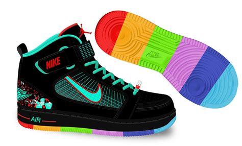 fancy basketball shoes fancy nike air 6 rings black green rainbow colors