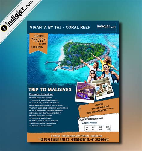 design a leaflet to encourage tourist to visit egypt indiater trip to maldives travel flyer template indiater