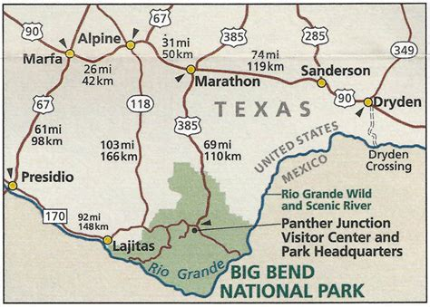 big bend national park texas map big bend national park in southwest texas