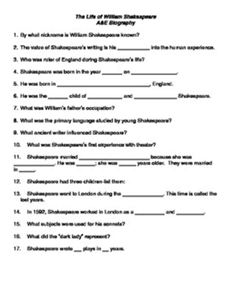 biography of shakespeare for middle school students the life of william shakespeare handout for the a e