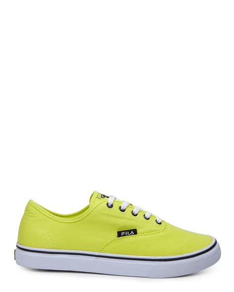 fila neon green classic canvas sneakers in green for