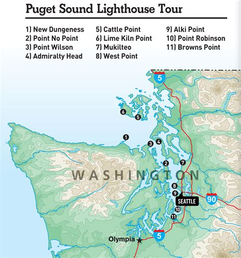 san francisco lighthouses map explore 11 washington lighthouses on a puget sound road