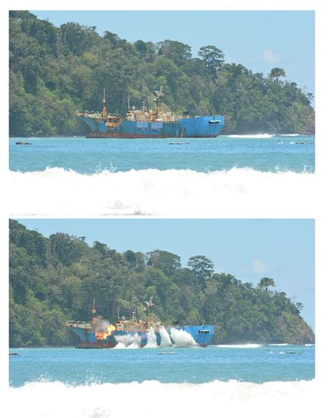 indonesia sinks first vessel from china under jokowi the photos indonesia blows up notorious poaching vessel
