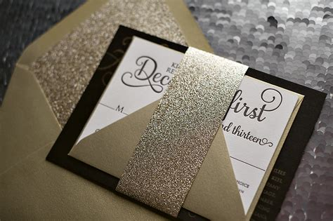 black and gold glitter wedding invitations real wedding and black and gold new year