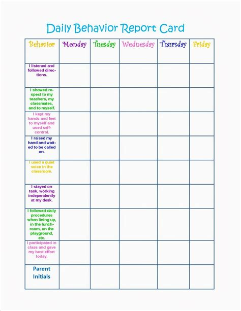 daily report card adhd template behavior charts printable for activity shelter