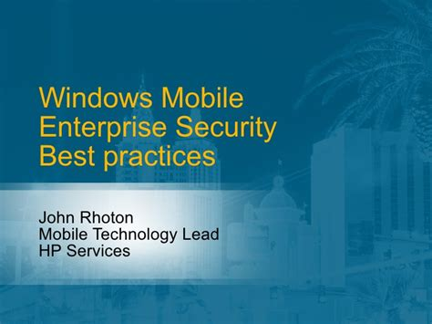 windows mobile enterprise security best practices