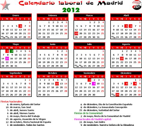 Calendario Escolar Cantabria 2013 Calendario Laboral Madrid Cgt Jardineria Madrid