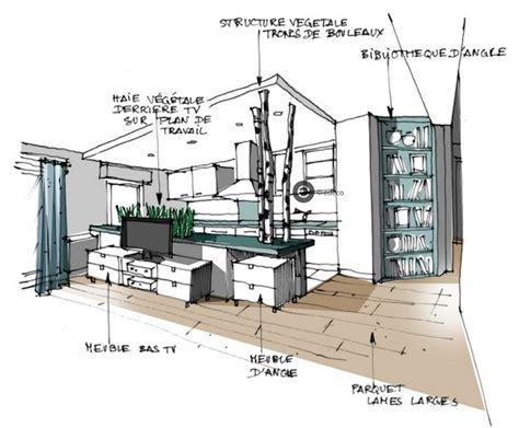 mod鑞e de cuisine ouverte croquis architecture int 233 rieure cuisine ouverte