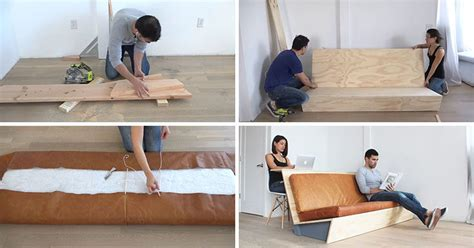 how to make a sofa make this diy modern couch that also doubles as a desk
