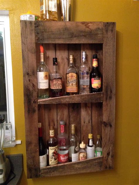 diy pallet wine  liquor shelf  primitive home