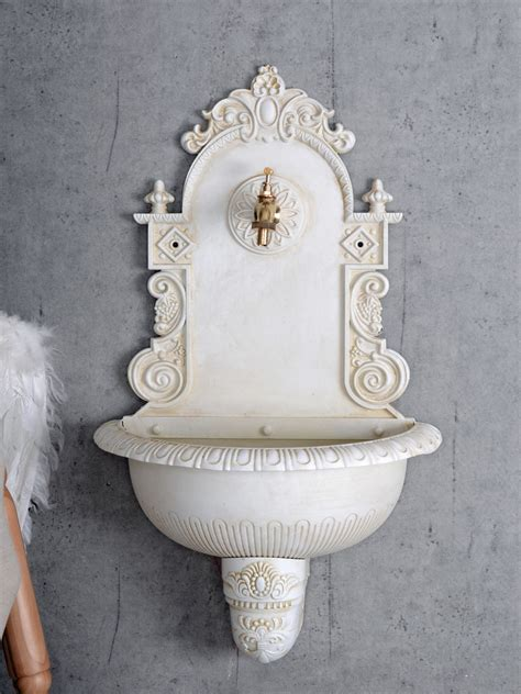 wall fountain vintage water fountain garden indoor outdoor shabby chic metal 4250399933045 ebay