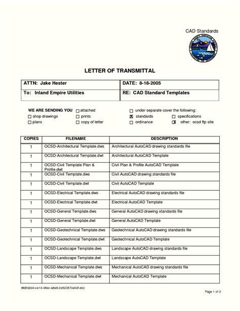 Engineering Transmittal Letter Template transmittal document template