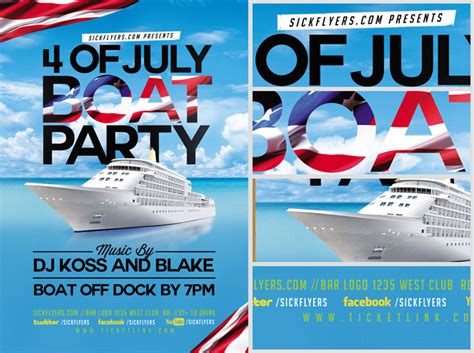 4th Of July Boat Party Flyer Template Flyerheroes Free Boat Flyer Template