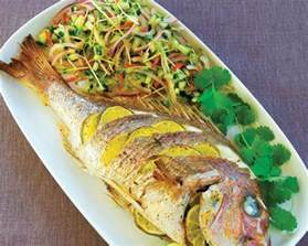 Tasty Dinner Party Recipes - whole baked fish and cucumber salad food in a minute