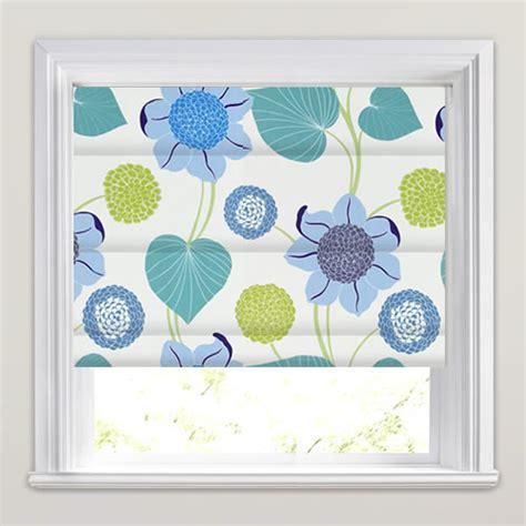 blue patterned blinds blue teal lime white large modern flowers patterned