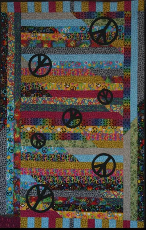 Quilting In Peace by Handmade Patch Work Peace Sign Quilt 100 Cotton