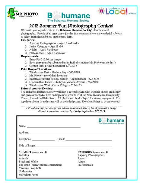 contest 2013 entry form bhs summer photography contest bahamas humane society
