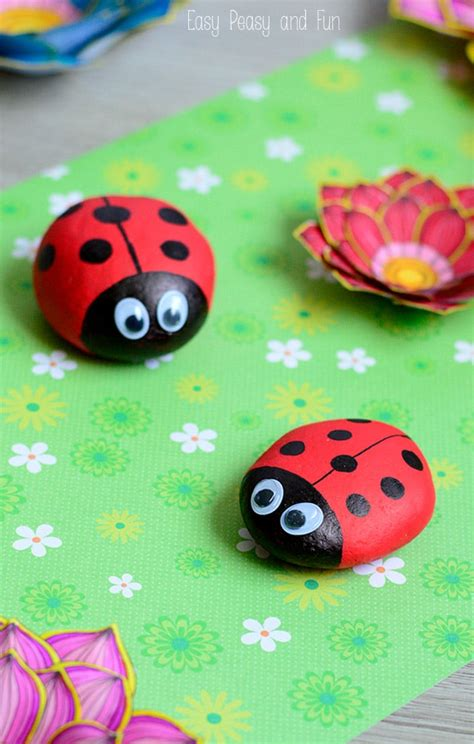 painted ladybug rocks rock crafts for easy peasy and