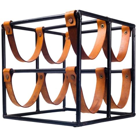 leather wine rack vintage wine rack by arthur umanoff for raymor in leather