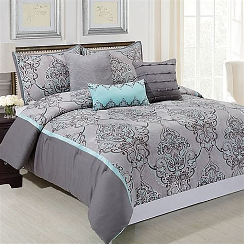 silver sparkle 6 piece comforter set in grey blue bed