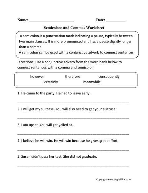semicolon worksheets englishlinx com board pinterest