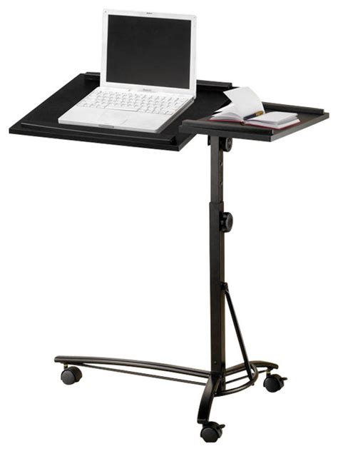 Mobile Laptop Desk Stand Small Smart Adjustable Height Swivel Top Black Computer Desk Mobile Laptop Stand Contemporary