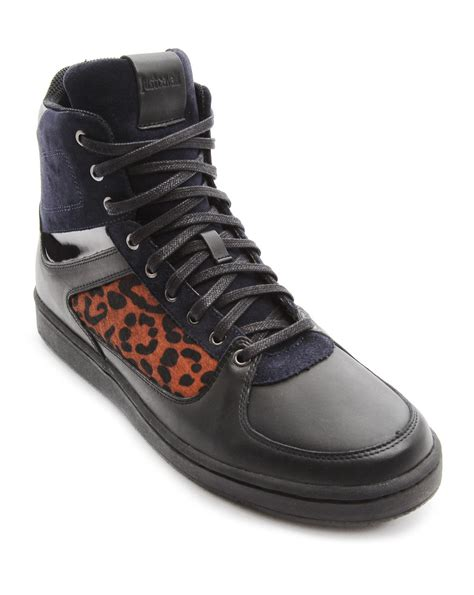 just cavalli sneakers just cavalli black hightop sneakers with leopard print