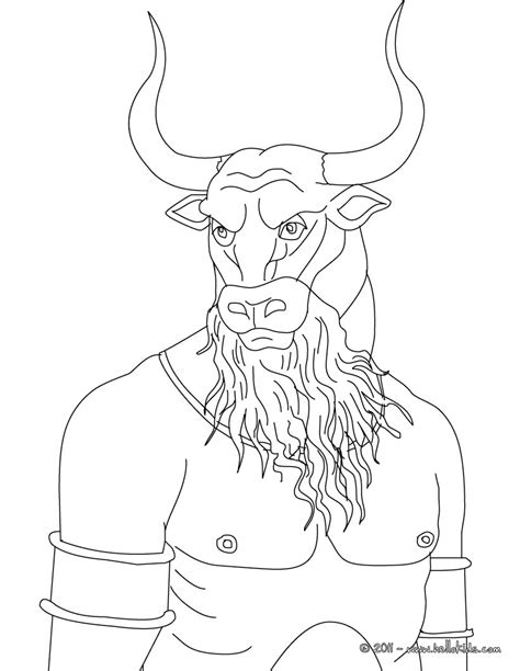 minotaur the bull headed man monster coloring pages
