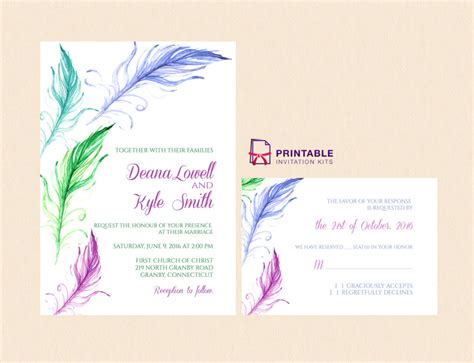 free pdf bright feathers wedding invitation and rsvp