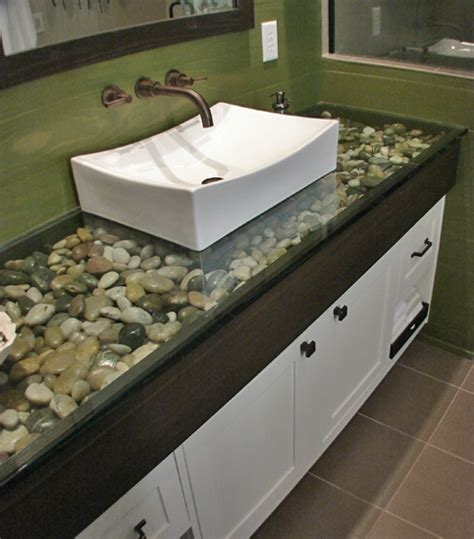 glass counter top with rock fill favething