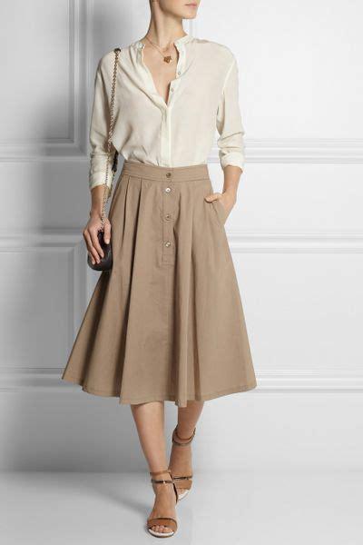 paul joe tessy pleated stretchcotton midi skirt in beige