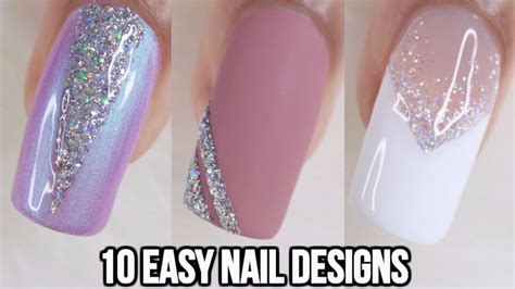 easy nail art compilation 10 easy glitter nail ideas nail art compilation doovi