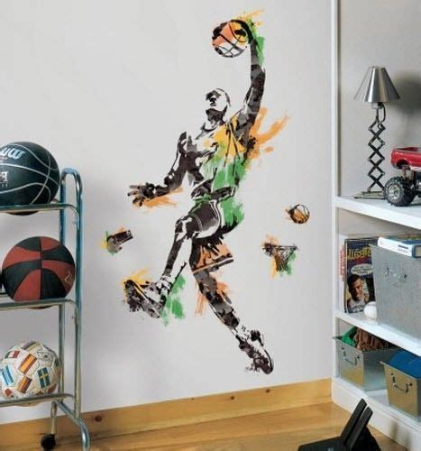 sports murals for bedrooms basketball player giant wall decals boy sport ball room