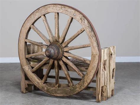 wagon wheel garden bench french wagon wheel large garden bench circa 1880 for sale at 1stdibs