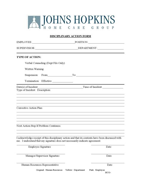 Employee Disciplinary Action Form   2 Free Templates in