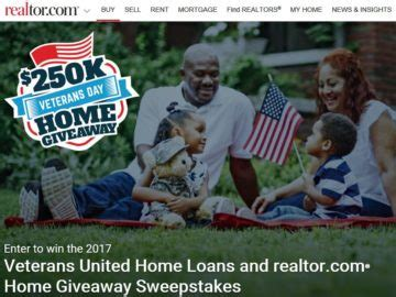 veterans united home loans and realtor home give away