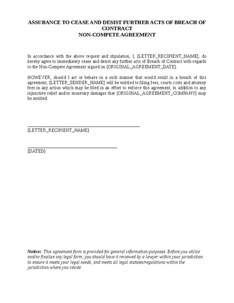 Non Compete Agreement Warning Letter Cease And Desist Breach Of Contract Letter Hashdoc