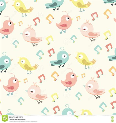 cute music pattern cute pattern with small birds and music note stock vector