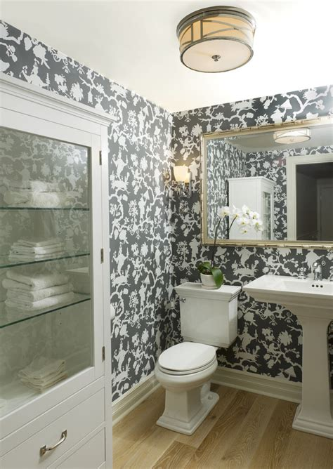 Beach Theme Bathroom Ideas startling toile wallpaper decorating ideas for powder room